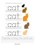 Practice writing the word cat. Worksheet