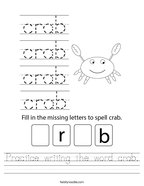 Practice writing the word crab Handwriting Sheet