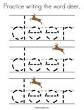 Practice writing the word deer. Coloring Page