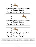 Practice writing the word deer Handwriting Sheet