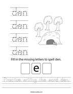 Practice writing the word den Handwriting Sheet