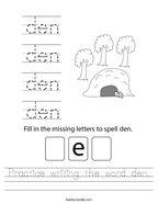 Practice writing the word den Handwriting Sheet