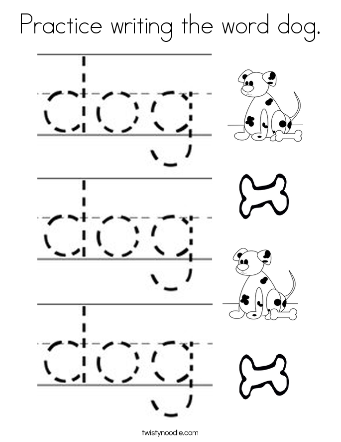 Practice writing the word dog. Coloring Page