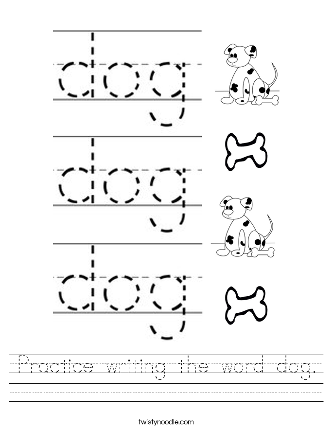Practice writing the word dog. Worksheet