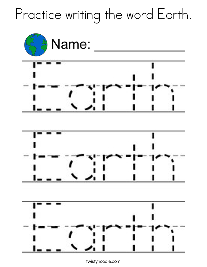 Practice writing the word Earth. Coloring Page