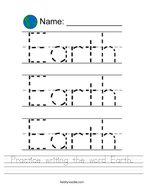 Practice writing the word Earth Handwriting Sheet