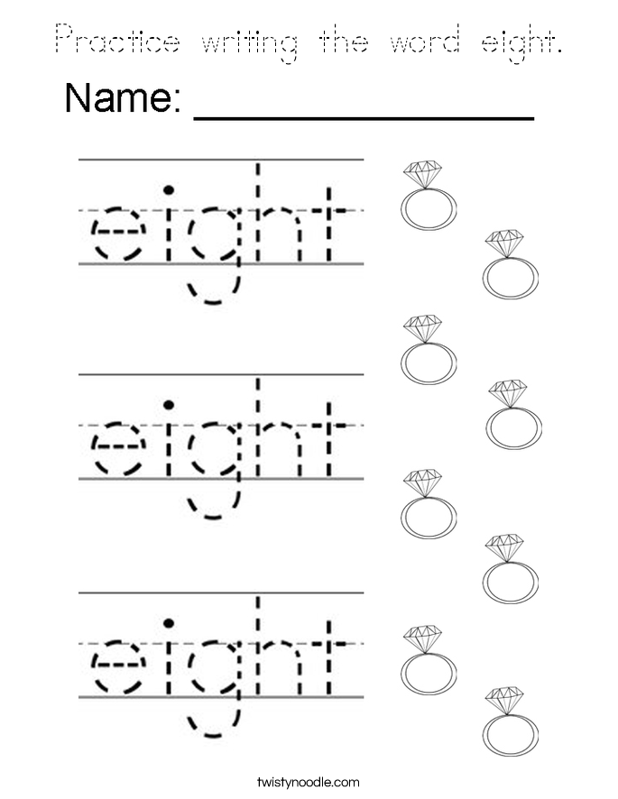 Practice writing the word eight. Coloring Page