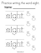 Practice writing the word eight Coloring Page