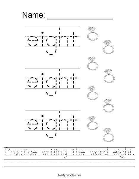 Practice writing the word eight. Worksheet