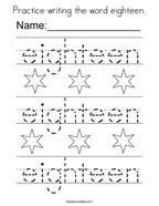 Practice writing the word eighteen Coloring Page