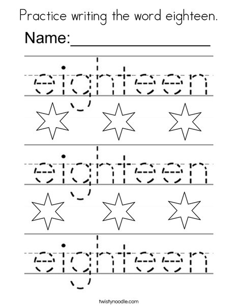 Practice writing the word eighteen. Coloring Page
