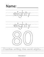 Practice writing the word eighty Handwriting Sheet