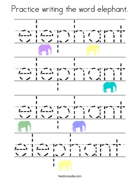 Practice writing the word elephant. Coloring Page