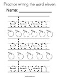 Practice writing the word eleven. Coloring Page
