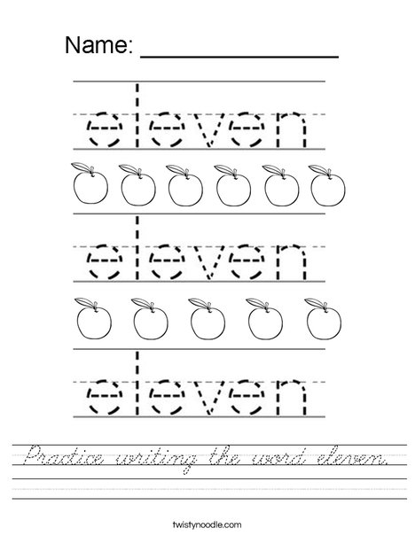 Practice writing the word eleven. Worksheet