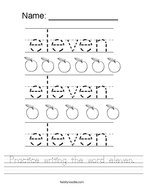 Practice writing the word eleven Handwriting Sheet