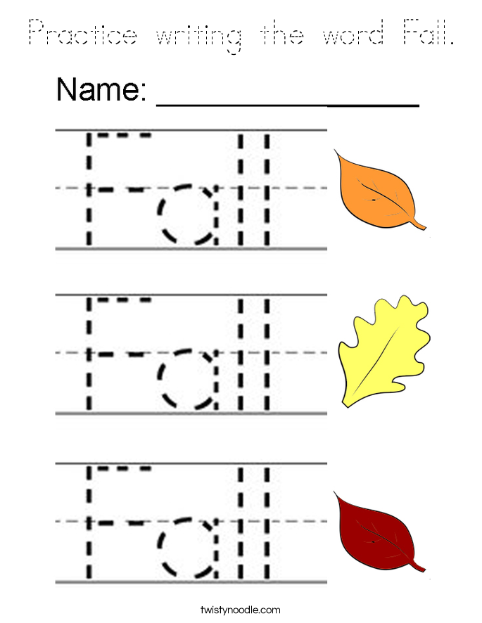 Practice writing the word Fall. Coloring Page