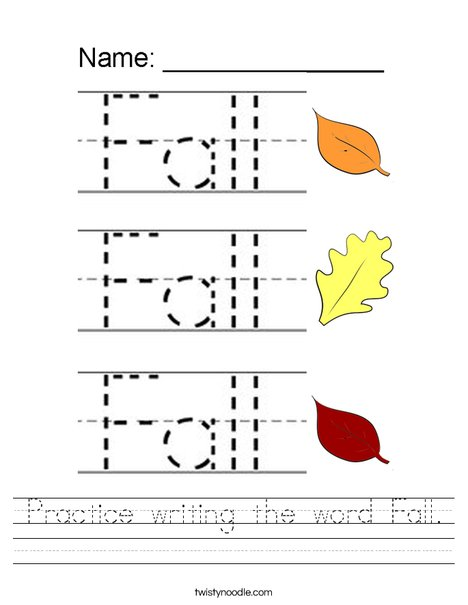 Practice writing the word Fall. Worksheet
