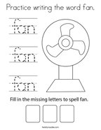Practice writing the word fan Coloring Page