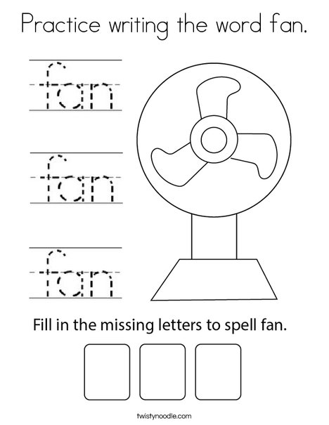 Practice writing the word fan. Coloring Page