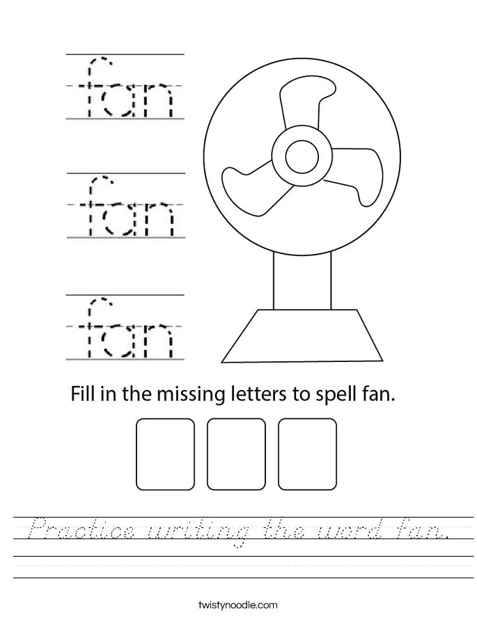Practice writing the word fan. Worksheet