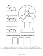 Practice writing the word fan Handwriting Sheet