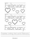 Practice writing the word February. Worksheet