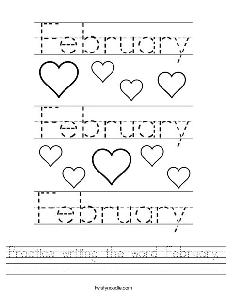 Number Names Worksheets worksheet writing : Practice writing the word February Worksheet - Twisty Noodle