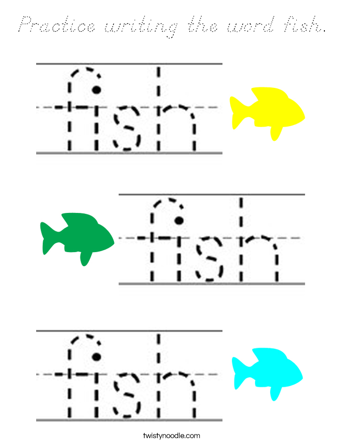 Practice writing the word fish. Coloring Page
