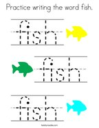 Practice writing the word fish Coloring Page