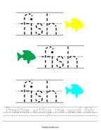 Practice writing the word fish Handwriting Sheet