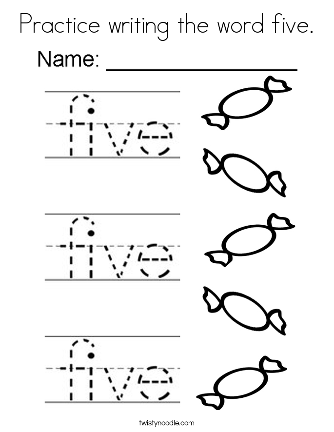 Practice writing the word five. Coloring Page