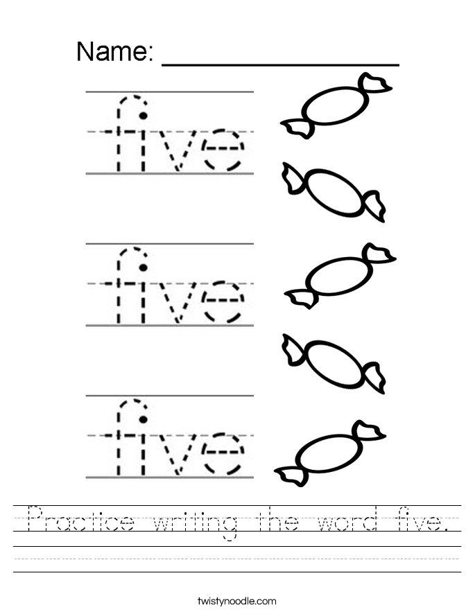 Practice writing the word five. Worksheet