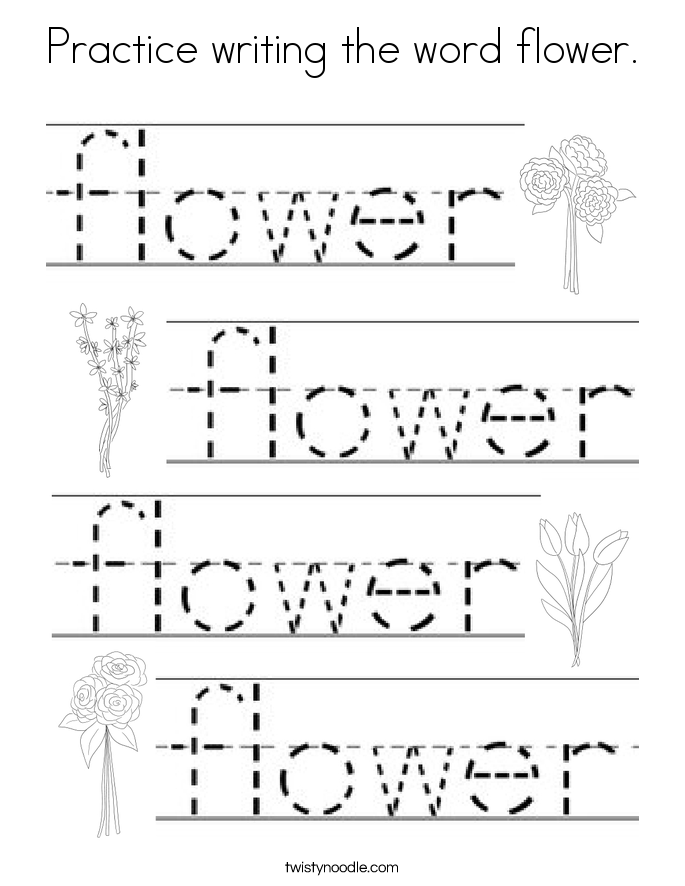Practice writing the word flower. Coloring Page