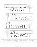 Practice writing the word flower Handwriting Sheet