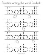 Practice writing the word football Coloring Page
