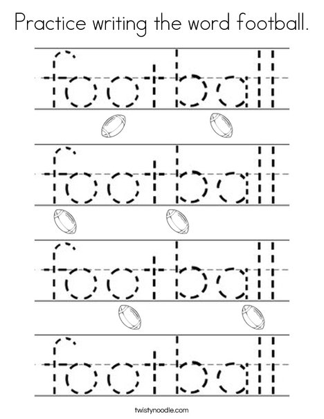 Practice writing the word football. Coloring Page