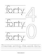 Practice writing the word forty Handwriting Sheet