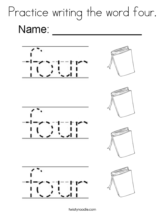 Practice writing the word four. Coloring Page