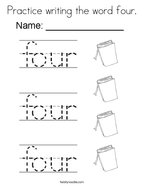 Practice writing the word four Coloring Page