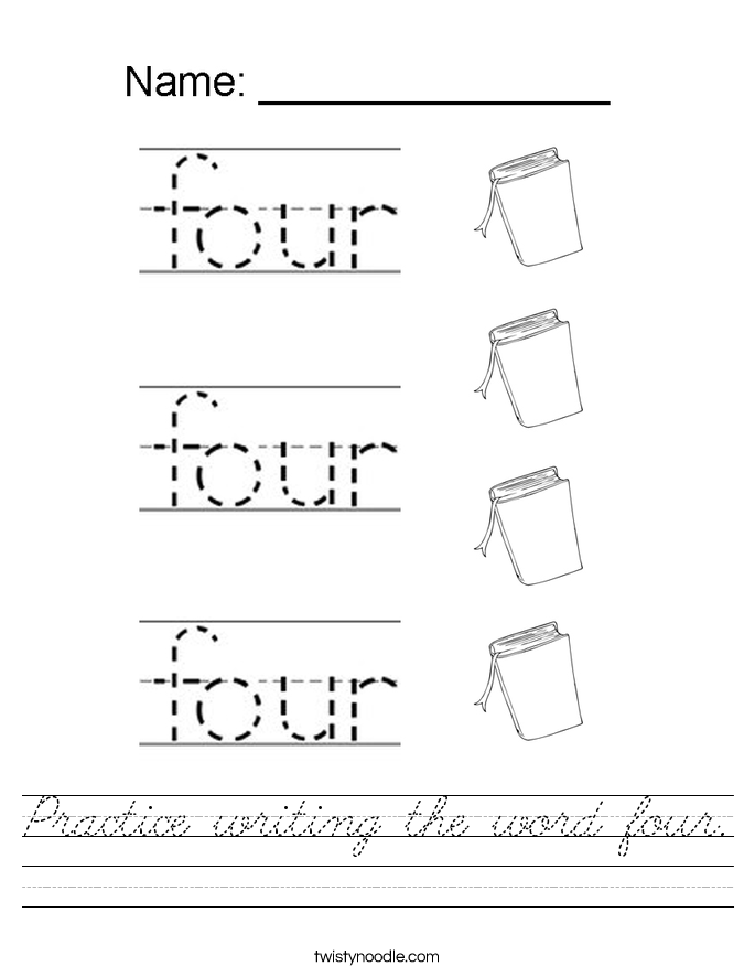Practice writing the word four. Worksheet