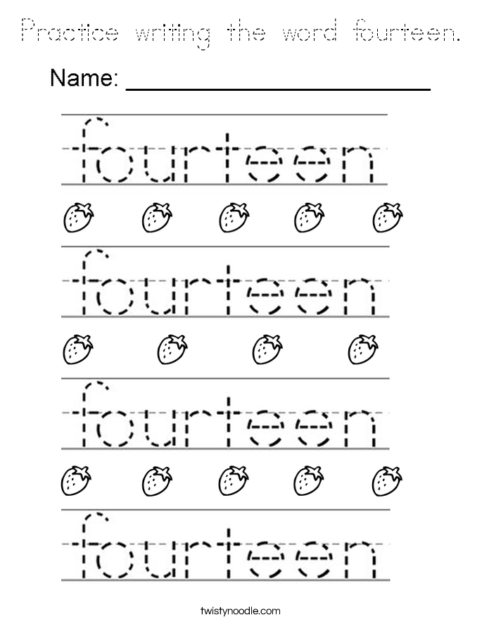 Practice writing the word fourteen. Coloring Page
