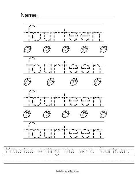 Practice writing the word fourteen. Worksheet