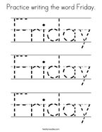Practice writing the word Friday Coloring Page