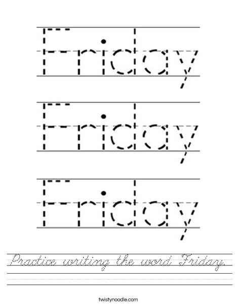 Practice writing the word Friday. Worksheet