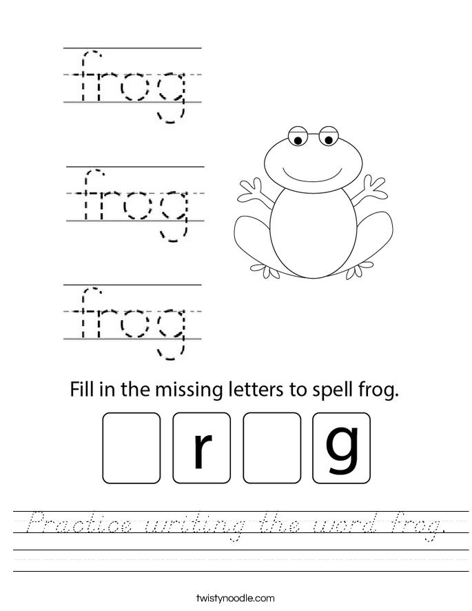 Practice writing the word frog. Worksheet