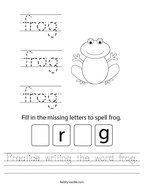 Practice writing the word frog Handwriting Sheet