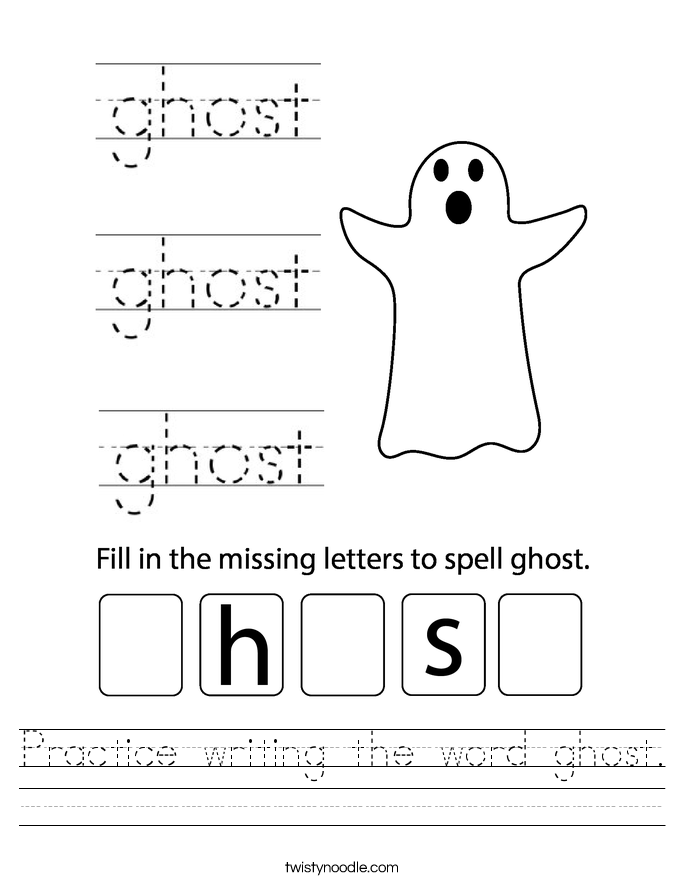 Practice writing the word ghost. Worksheet