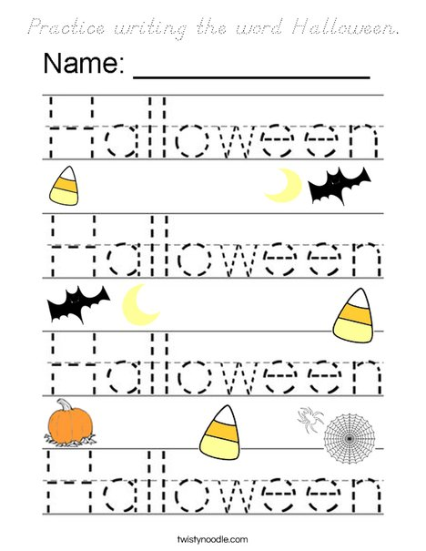 Practice writing the word Halloween. Coloring Page