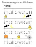Practice writing the word Halloween Coloring Page